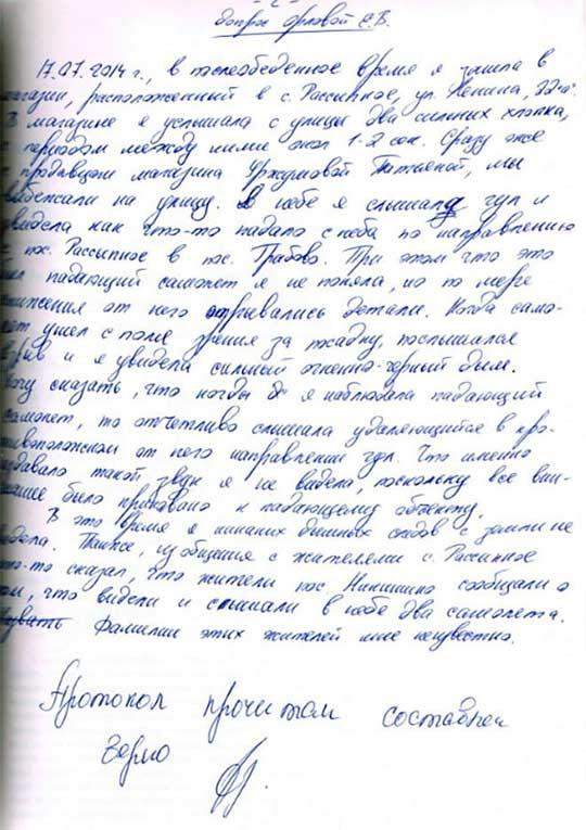 В ДНР раскрыли показания свидетелей крушения «боинга»
