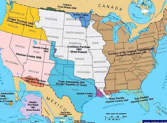 НА КАРТЕ: Отнятые у Мексики территории показаны розовым и голубым цветом.